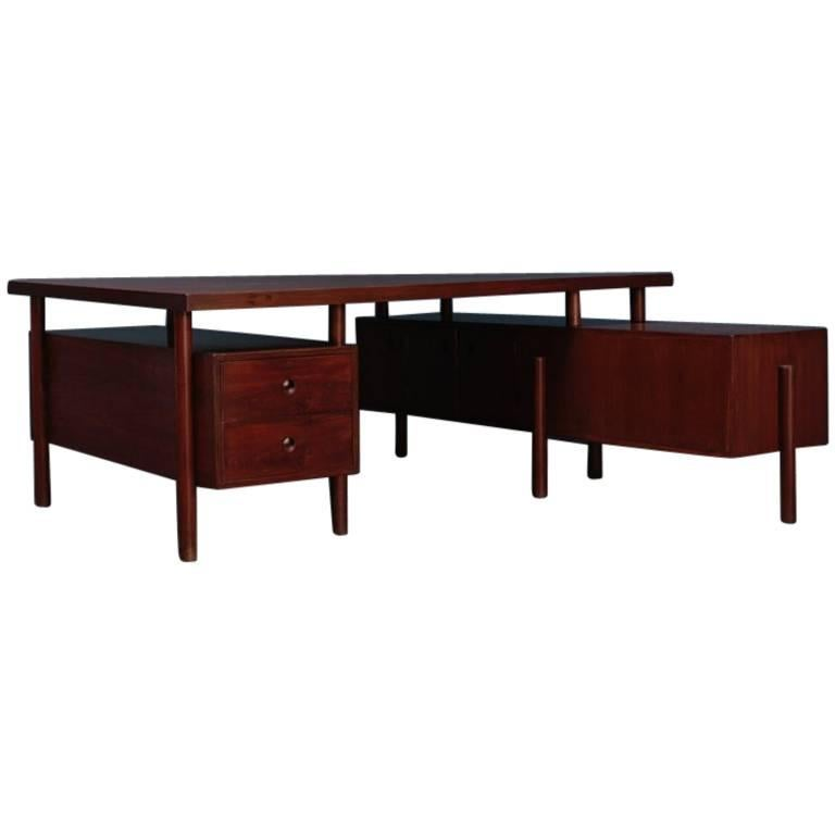 Large Desk with Box on the Side by Pierre Jeanneret For Sale