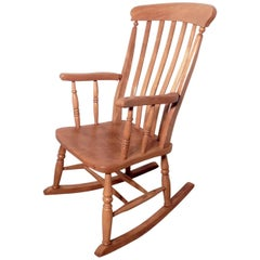 Victorian Beech and Elm Slat Back Carver Rocking Chair