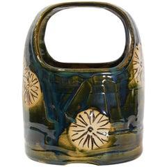 Japanese Dark Green Ceramic Oribe Ware Hibachi, 1930s