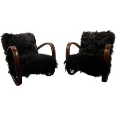 Pair of Jindrich Halabala Cantilever Armchairs in Bentwood and Black Sheepskin