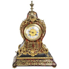 19th Century French Boulle Mantel Clock on Stand