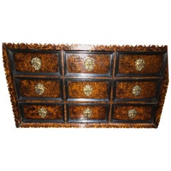 Luiks Lutich Liege Cabinet Walnut Late 17th Century Burl Bone Ebony Nine Drawers