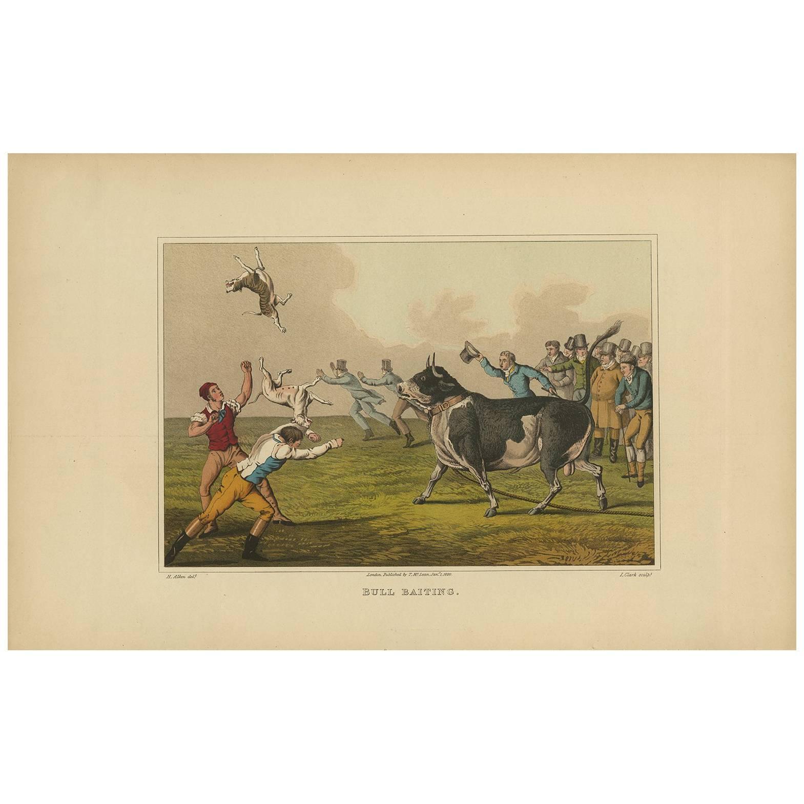 Antique Aquatint 'Bull Baiting' by J. Clark, 1820