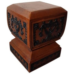 20th Century Solid Teak Wooden Console/Base with Hand-Carvings All Around