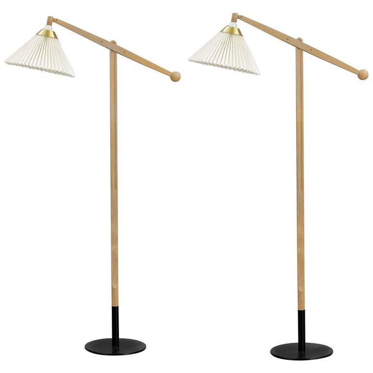 Pair of Oak Floor Lamp Model 325 by Vilhelm Wohlert for Le Klint in Denmark
