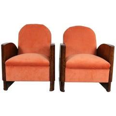 Pair of Walnut Art Deco Armchairs