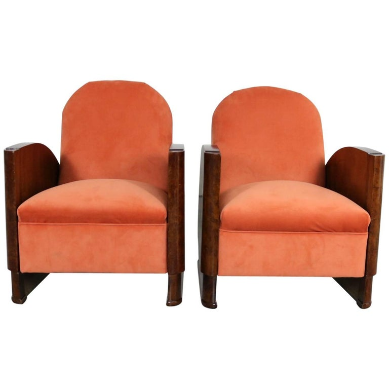 Pair of Walnut Art Deco Armchairs