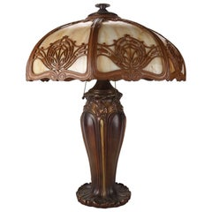 Antique Arts & Crafts Bradley and Hubbard Bronzed and Gilt Slag Glass Lamp