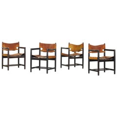 Set of Four of Armchairs Hunting Dining Chairs by Børge Mogensen for Fredericia