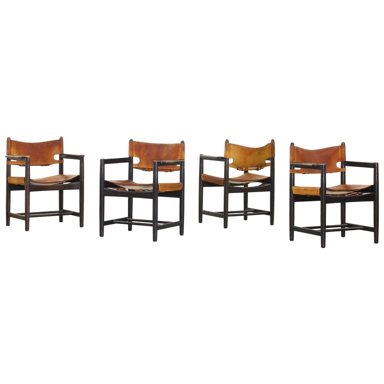 Set of Four of Armchairs Hunting Dining Chairs by Børge Mogensen for Fredericia For Sale