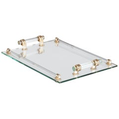 French Vintage Mirrored Glass Tray, 1950s