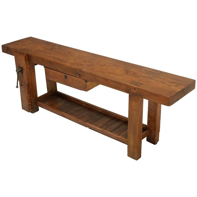 Antique French Woodworker's Bench or Sofa Table
