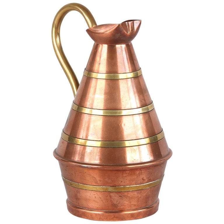French Copper and Brass Wine Pitcher, 1950s