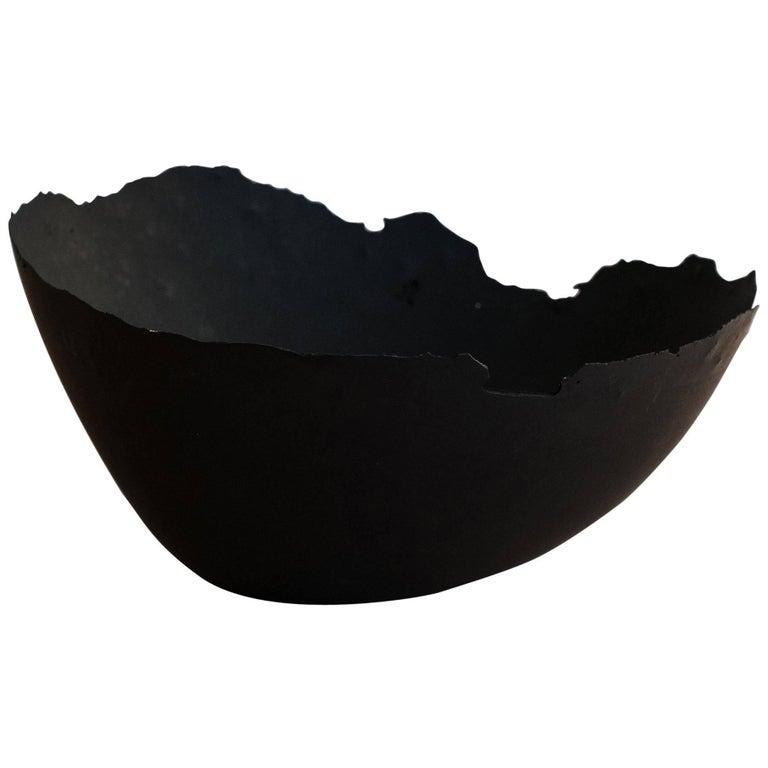Handmade Cast Concrete Bowl in Black by UMÉ Studio For Sale