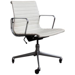 1958 Ray and Charles Eames, White Vinyl Adjust, Tilt, Office Chair Four Wheels