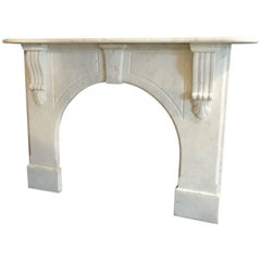 19th Century Victorian White Carrara Marble Arch Fireplace Surround