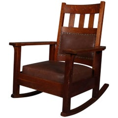 Antique Arts & Crafts Stickley Brothers Upholstered Rocking Chair, Signed