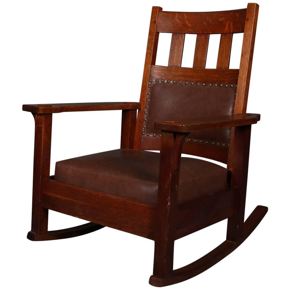 Antique Arts U0026 Crafts Stickley Brothers Upholstered Rocking Chair, Signed  For Sale