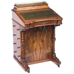19th Century Victorian Burr Walnut and Inlaid Davenport Desk