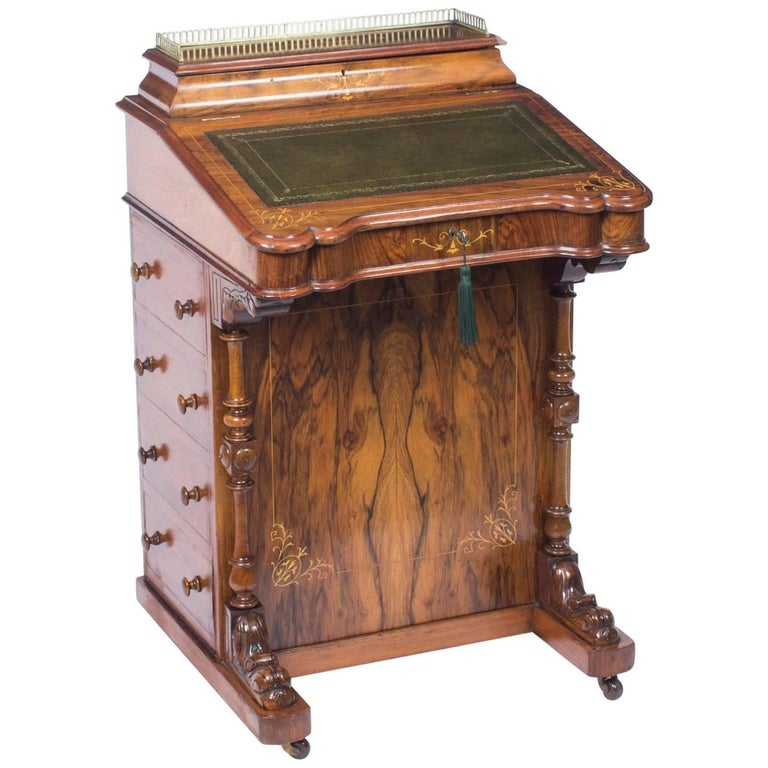 19th Century Victorian Burr Walnut and Inlaid Davenport Desk