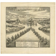 Antique Print of the Battle in the Dardenelles, Turkey by C. Merian, circa 1650