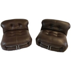 Pair of Soriana Lounge Chairs, Afra & Tobia Scarpa, Fully Restored, Leather