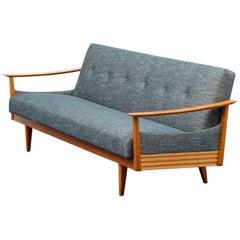 Elegant 1960s Sofa with Folding Mechanism, Reupholstered, Petrol Green