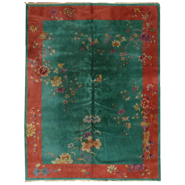 Handmade Antique Art Deco Chinese Rug, 1920s, 1B462