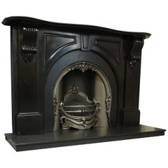 Irish 19th Century Victorian Black Marble Fireplace Surround