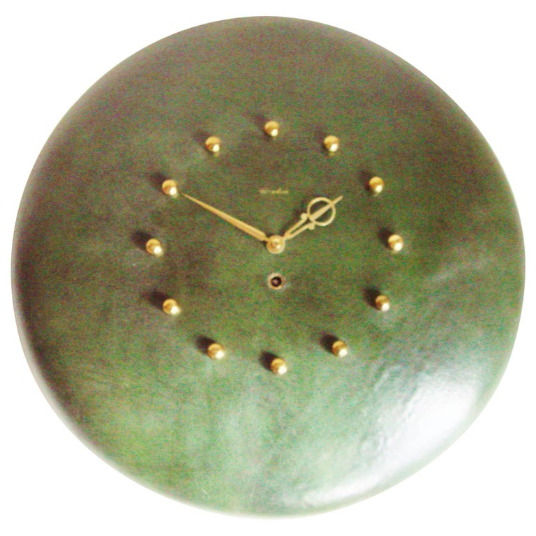 American Midcentury Leather & Brass 8-Day Mechanical Wall Clock by Herschede