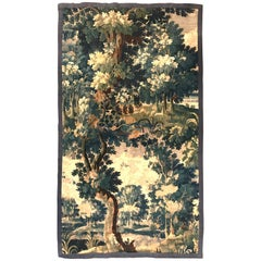Tall Mid-18th Century French Verdure Aubusson Tapestry with Trees and Foliage