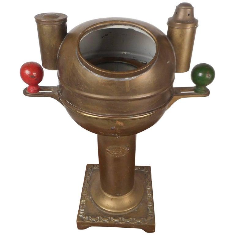 Vintage A. Robinson and Company Brass Binnacle Compass
