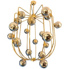 Contemporary Chandelier Brass Cage. Italy