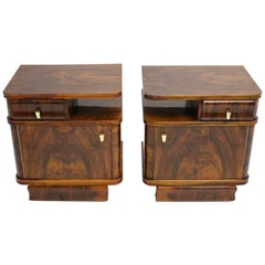 Art Deco Era Walnut Art Deco Nightstands, Austria, 1930s