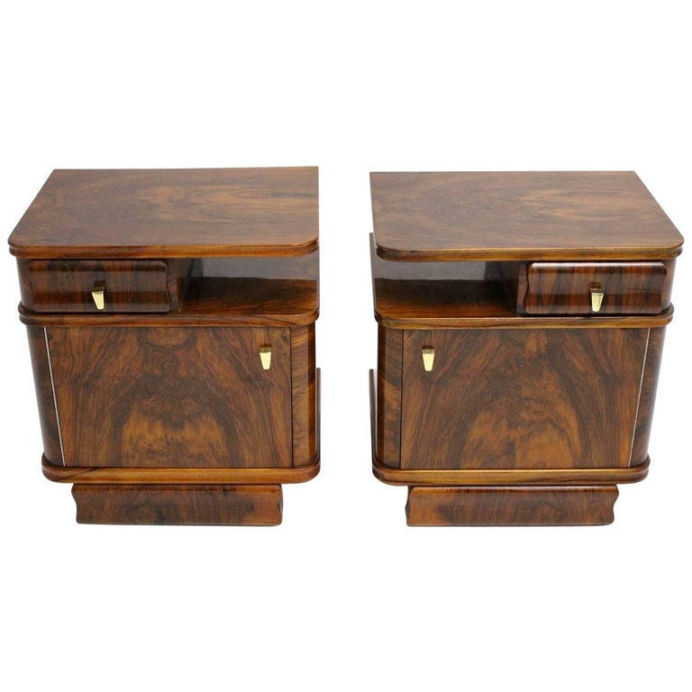 Walnut Art Deco Nightstands, Austria, 1930s