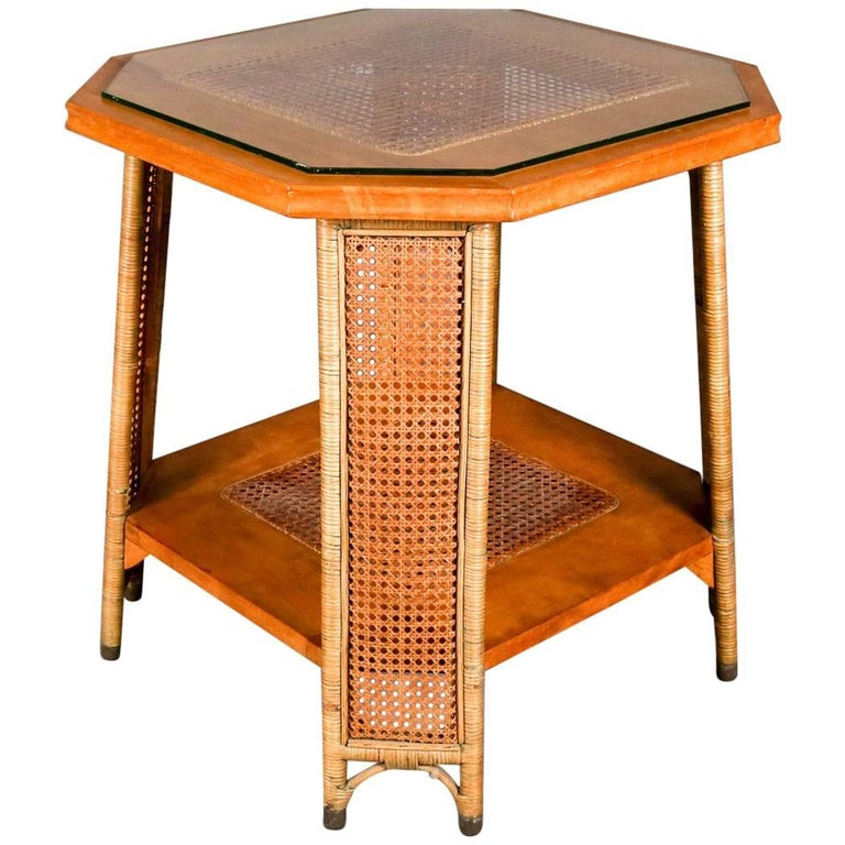 Heywood Wakefield Yewwood, Cane and Wicker Glass Top Lamp Stand, 20th Century For Sale