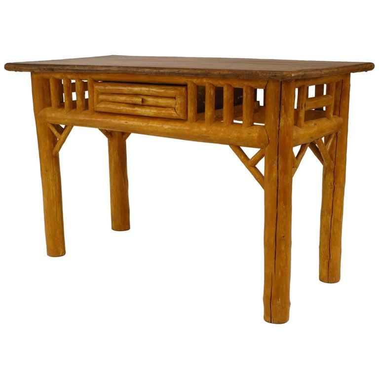 American Rustic Adirondack Painted Cedar Table Desk For Sale