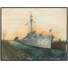 Original Watercolor of the USS Haraden a World War II Destroyer