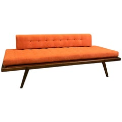 Mid-Century Modern Walnut Upholstered Daybed by Mel Smilow