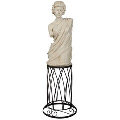 Classical Faux Marble 3/4 Bust Sculpture of Young Caesar, 20th Century
