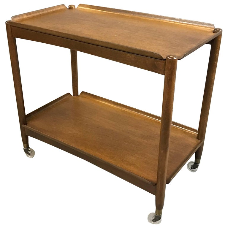 Danish Modern Walnut Two-Tier Folding Serving Bar Cart