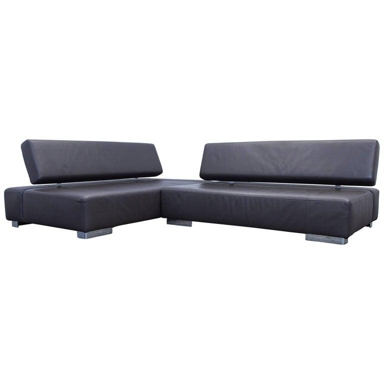 br hl and sippold designer leather corner sofa brown. Black Bedroom Furniture Sets. Home Design Ideas