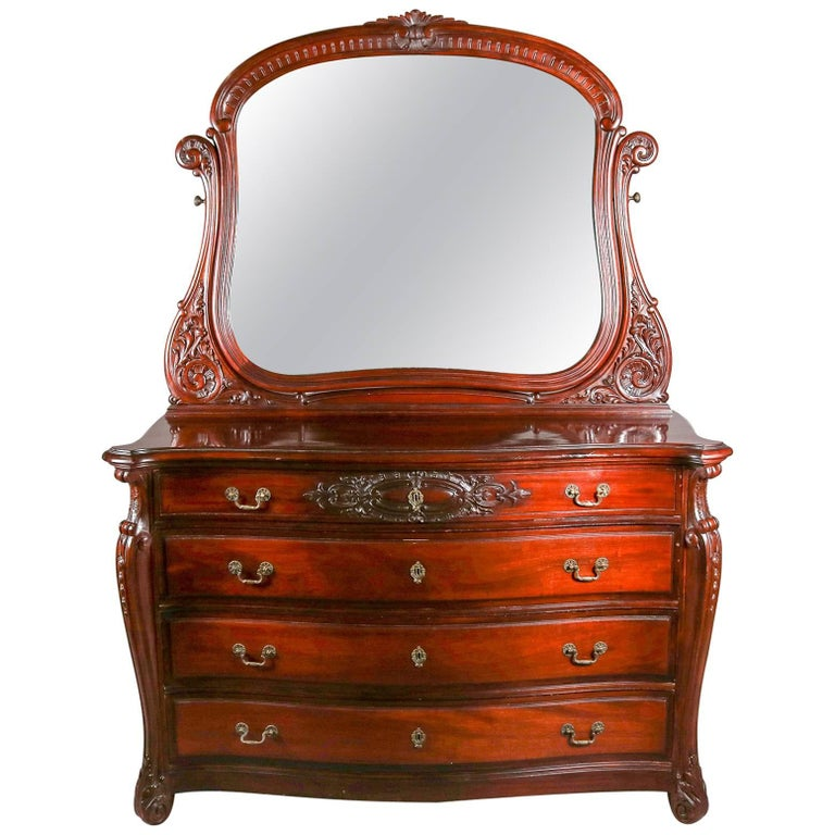 Antique Horner Bros Carved Mahogany Bow Front Dresser With Mirror 20th Century For