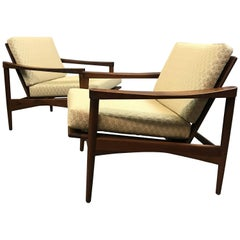 Pair of Danish Modern Walnut Lounge Chairs