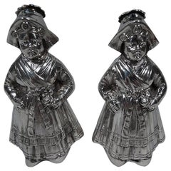 Pair of Antique German Sterling Silver Country Girl Salt and Pepper Shakers