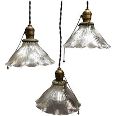 Prismatic Holophane Ruffled Bell Shade Pendant Lights