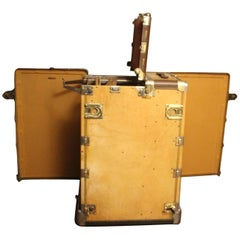 1930s Hartmann Beige Leather Turntable Wardrobe Fitted Steamer Trunk
