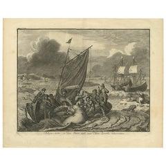 Antique Print of the Sea Voyage to Nova Zembla by J. Le Clerc, circa 1730