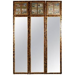 Asian Style Tortoiseshell Three-Panel Dressing Mirror Screen with Village Scenes