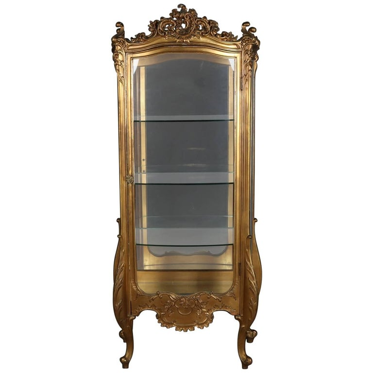 Antique French Louis XIV Style Giltwood Mirror Back Bow Front Vitrine For Sale